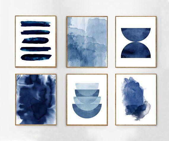 Large Abstract Art Prints Blue Paintings Indigo Navy Wall
