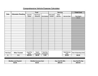 Free Printable Vehicle Expense Calculator Microsoft Excel