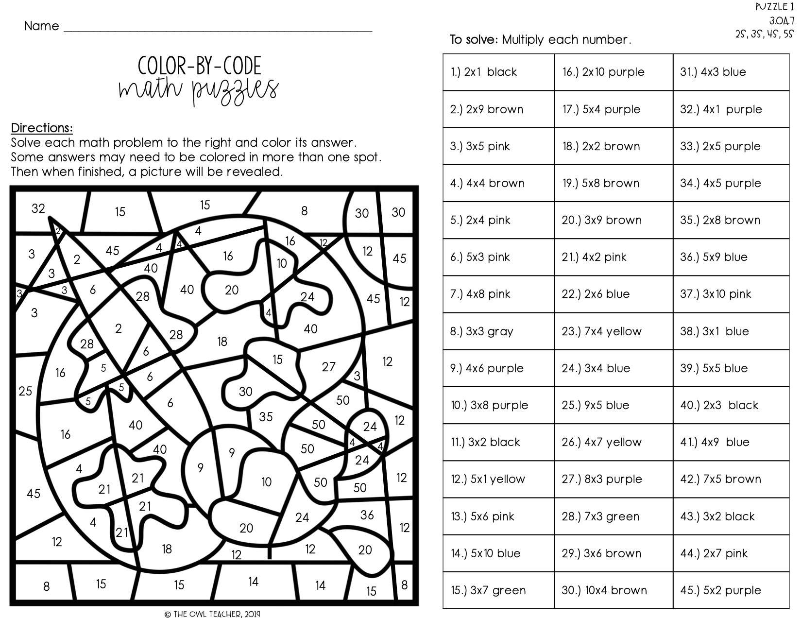 Multiplication Facts Color By Number Color By Code