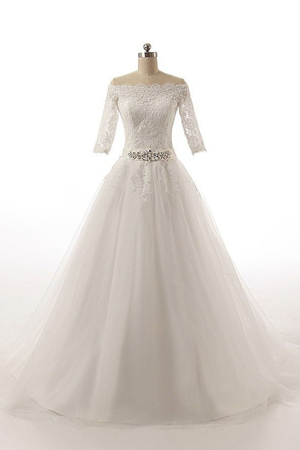 Half sleeves long ball gowns bodice lace wedding dresses w