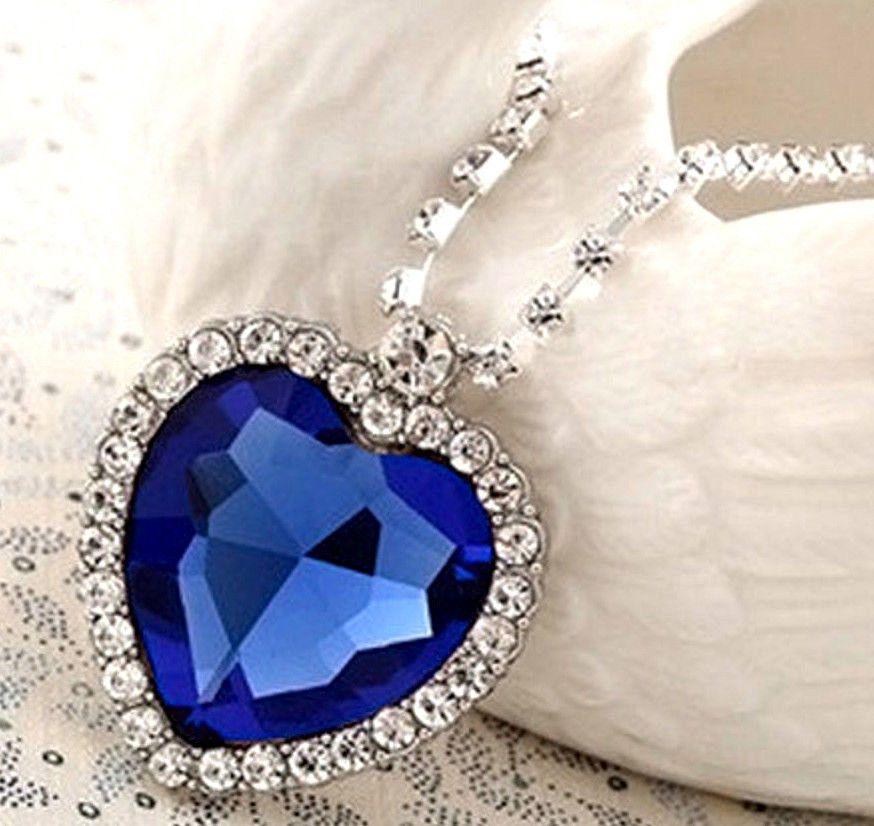 5fdb94046073b Titanic Necklace Blue Sapphire & Crystal Large Heart Ocean Prom ...