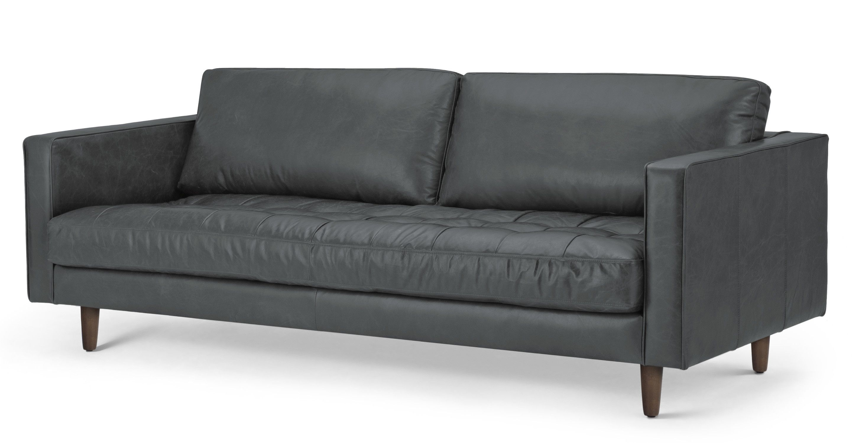 Scott 3 Sitzer Sofa Premium Leder In Grau 3 Seater Sofa Teal Living Rooms Sofa