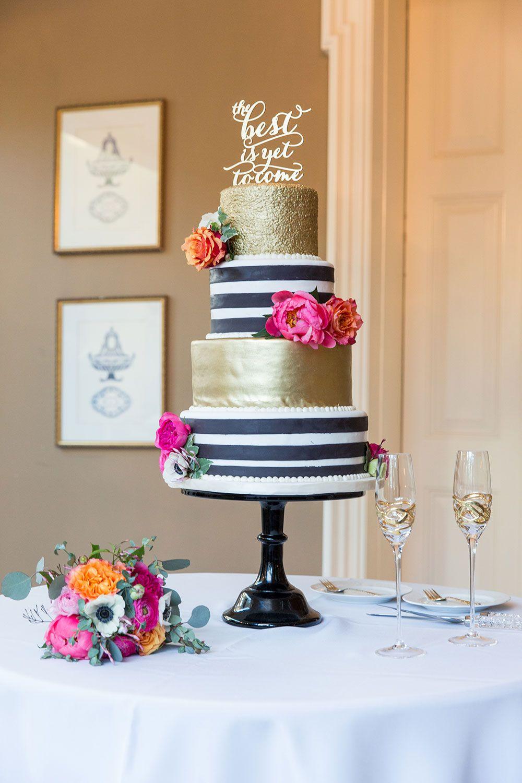 Whimsical Black White Striped Wedding