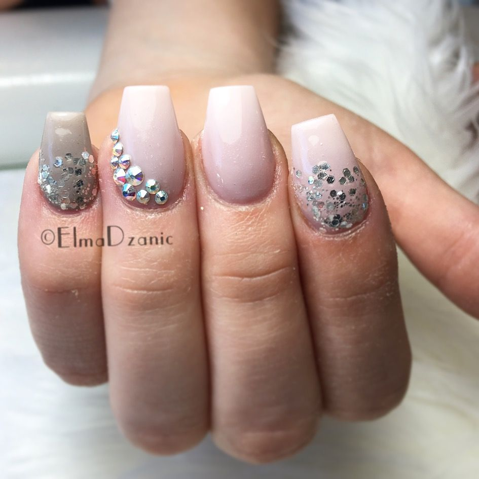 Glitter and rhinestone nail designs. Neutral nail designs. Coffin ...
