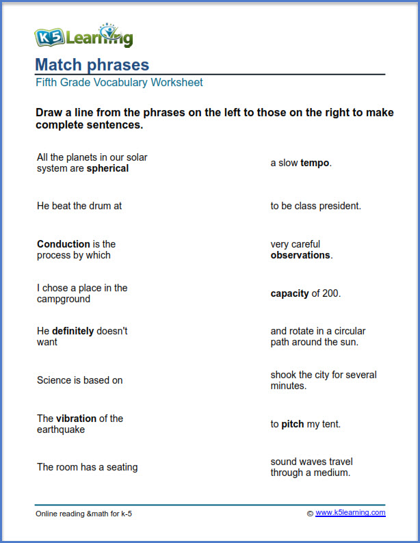 grade 5 English worksheets match phrases K5 Learning