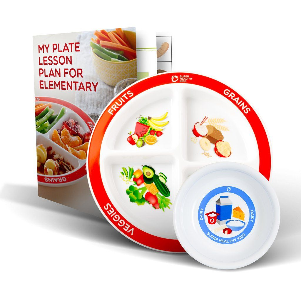 MyPlate Divided Kids Plate with Dairy Bowl and Elementary