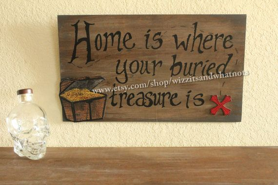 Coupon Code PIN10 for 10% off!!! Hand Painted Pirate Sign 3D Treasure Chest by WizzitsandWhatnots