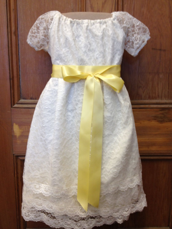 Rustic wedding flower girl dresses  Girls Spring Shabby Chic Wedding Flower Girl Cream Lace Rustic Dress