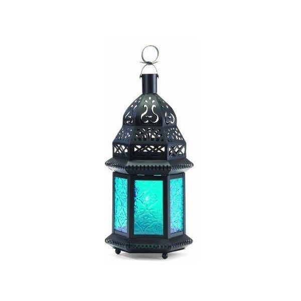 Malibu Creations Blue Glass Moroccan-Style Lantern found on Polyvore