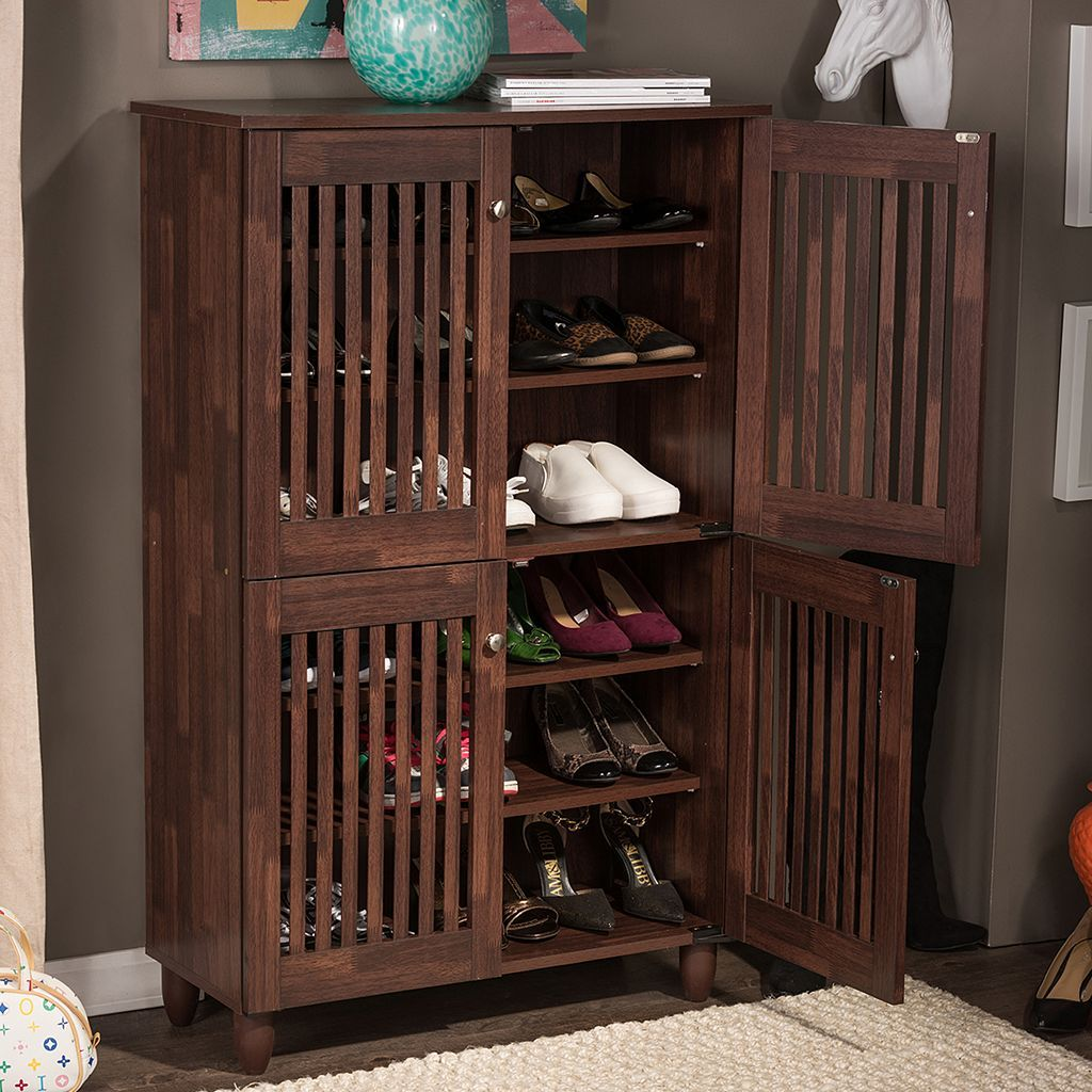 Baxton Studio Fernanda Tall Shoe Storage Entryway Cabinet | Shoe ...