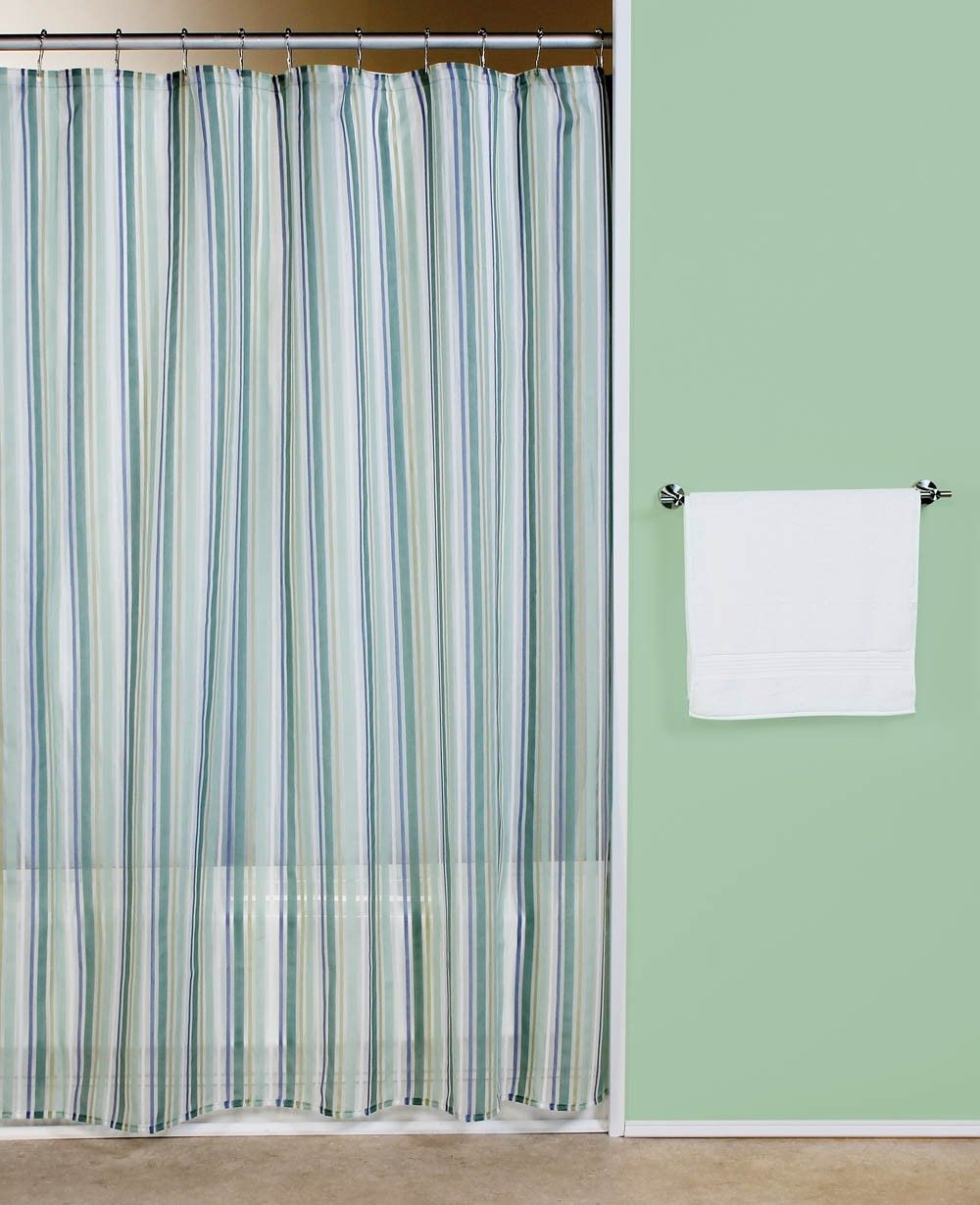 sheer stripe blue green fabric shower