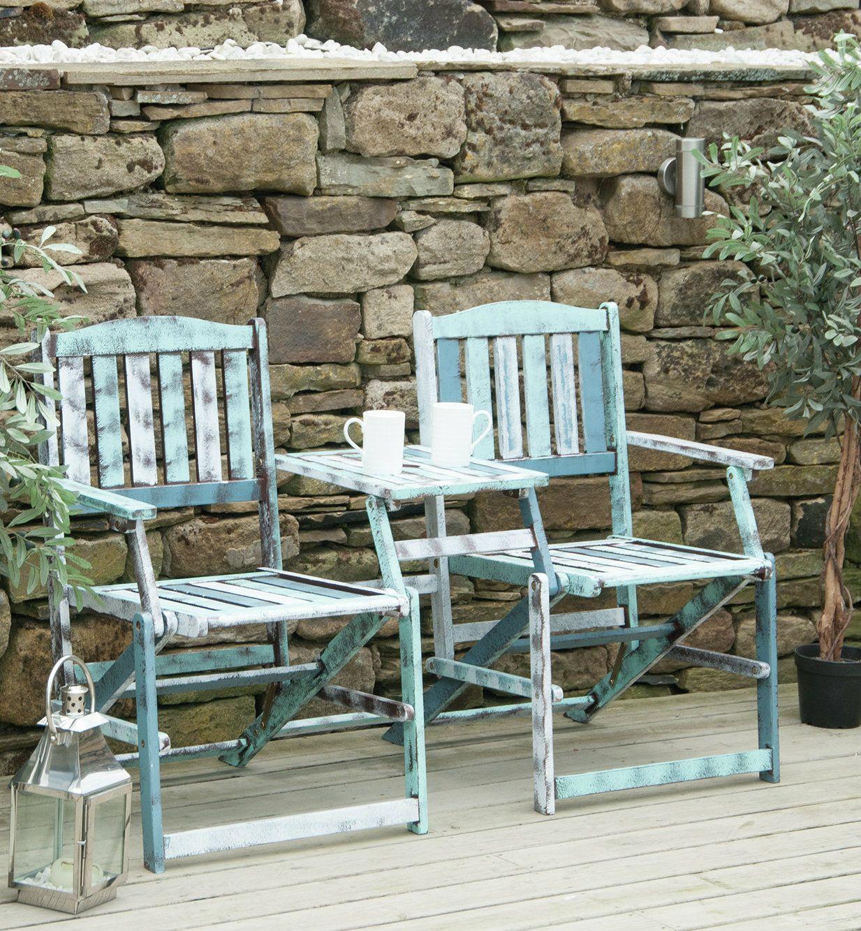 Foldable wood love seat Tuin
