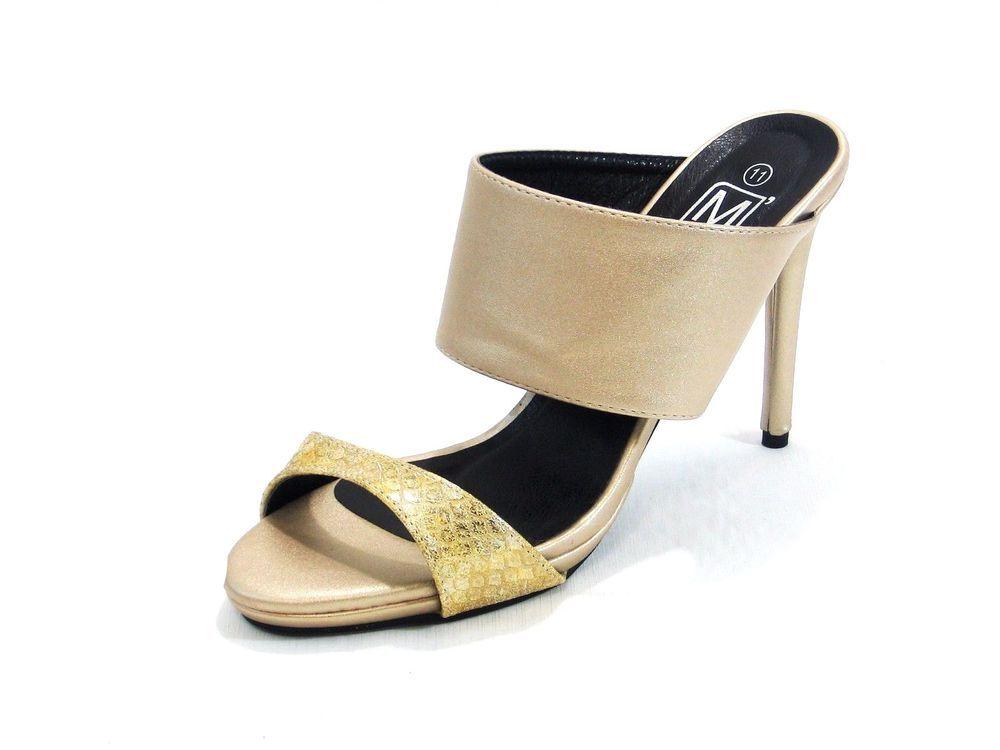 Maker's Damens Slip Größe On High Heel Gold Sandale Größe Slip 11M  makers ... b298b4
