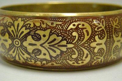 Vintage Brass Round Bangle Bracelet .75 by LookingBackBoutique