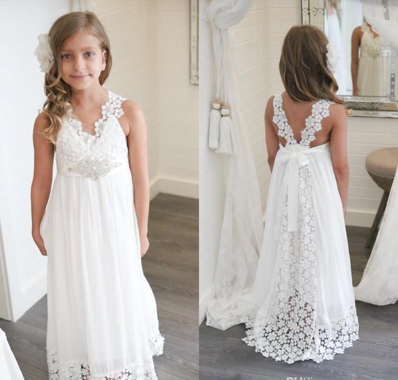 2019 New Arrival Boho White Flower Girl Dresses For Weddings Cheap V Neck Chiffon L White Flower Girl Dresses Flower Girl Dresses Navy Flower Girl Dresses Boho