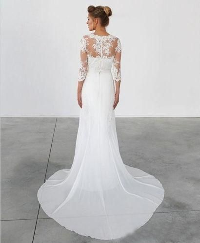 1649310e53 Unique Lace 3/4 Sleeve White Formal Cheap Beach Long Wedding Dresses, WG655  The wedding dresses are fully lined, 4 bones in the bodice, chest pad in  the ...