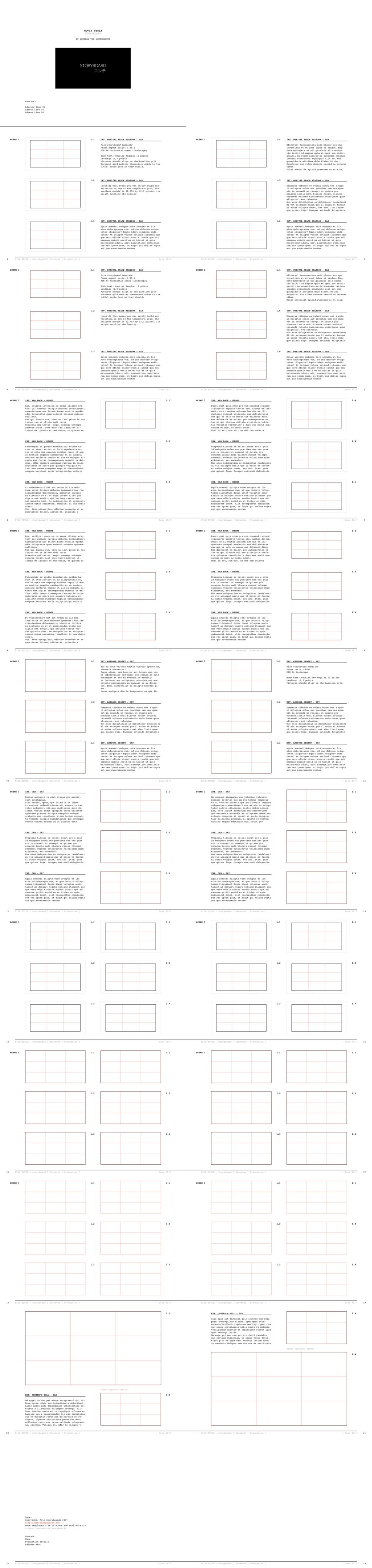 InDesign Storyboard template 1.85:1 Courier 10 on DIN A4 landscape ...
