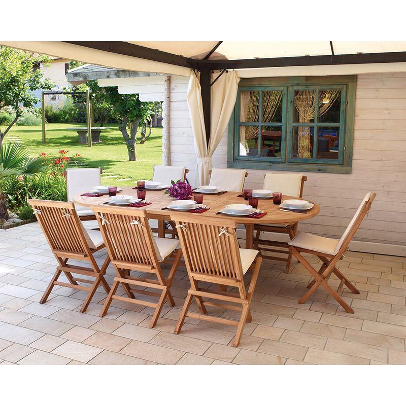 Ensemble de jardin table ovale extensible + 8 chaises en ...
