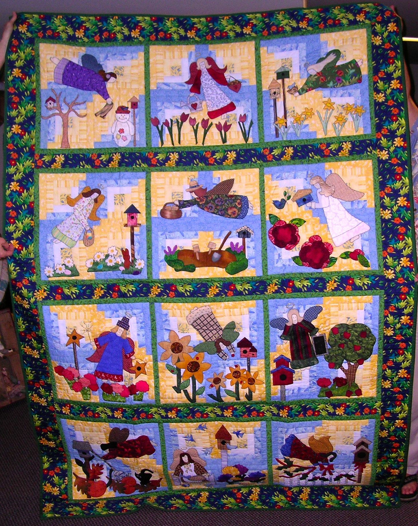 Monthly Calendar Quilt Patterns : Gardening angels was a block of the month calendar quilt