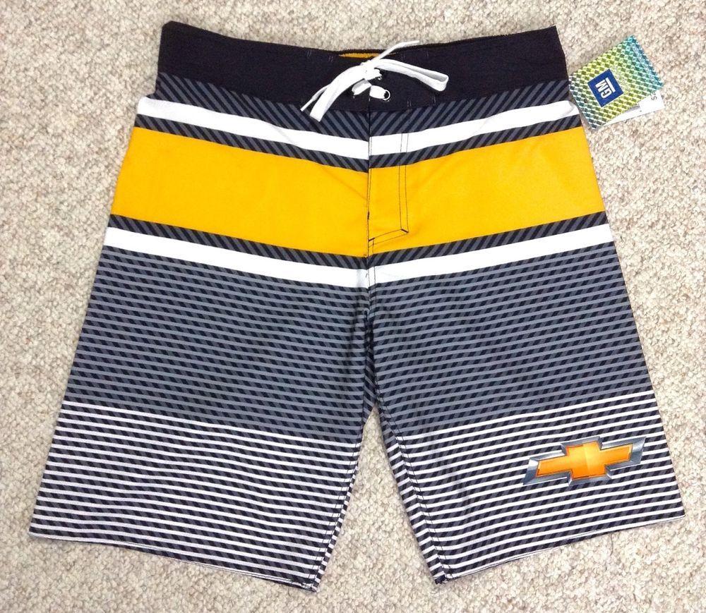 a64f8a2939 New$29 CHEVROLET SWIM TRUNKS Chevy Yellow Board Shorts Elastic MENS MED (30- 32) #GeneralMotors #BoardShorts