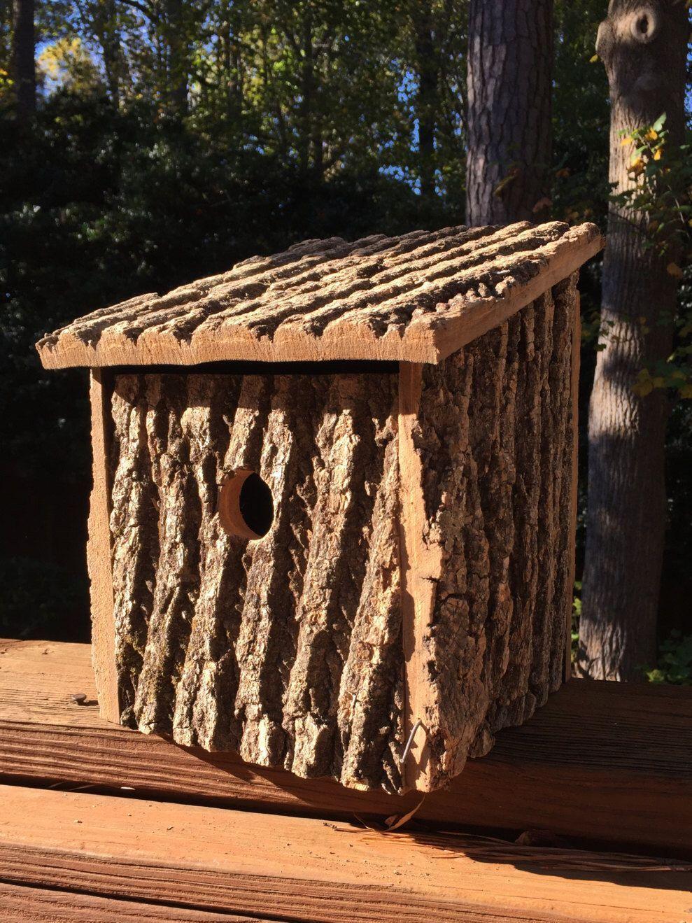 Rustic Birdhouse Made From Poplar Bark And Cedar Love