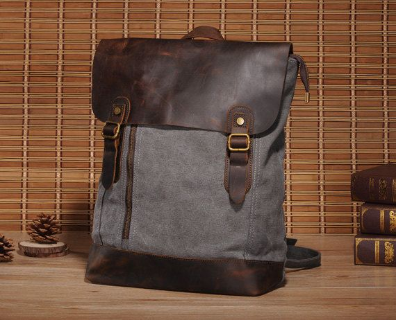 Top Leder Tasche, Retro Premium Canvas Rucksack von lala style tasche auf DaWanda.com