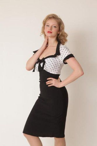 Lindy Bop 'Laney' Chic Vintage 50's Style Black Bengaline Pencil Wiggle Dress: Clothing [Buy: $46.99]