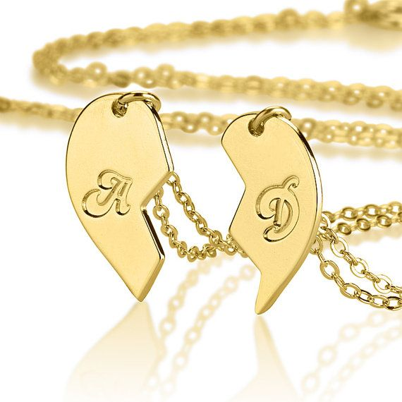 Half Heart Necklace His And Hers Jewelry Gold Plated Matching