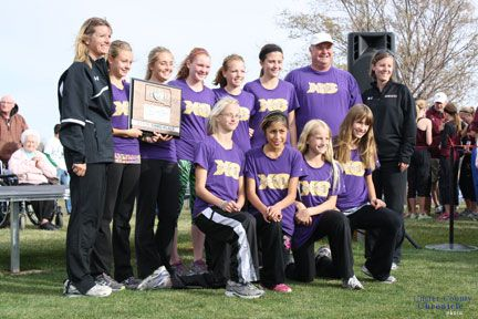 The girls team took third at the state meet held in Huron on Saturday. Pictured, from left, back, coach Karen Karim, Mattisen Kelley, Victoria Dahlstrom, Emmalee Hollick, Ashlee Eggers, Manager Gina Carlsen, assistant coach Walker Witt, coach Mindy Dooley; front, Jazmin Hitshew, Annie Antonio, Tayler Carlson and Tori Glazier. Not pictured is assistant coach Beth Hollick.