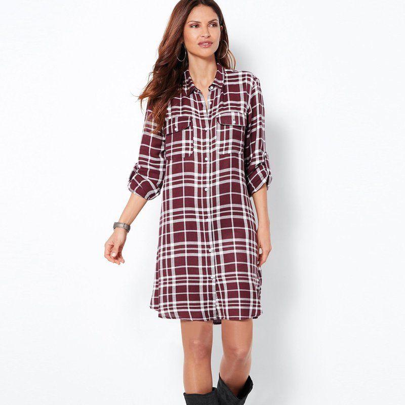 108343ec5eab Robe chemise courte manches longues carreaux femme Exclusivité 3SUISSES -  carreaux lie de vin