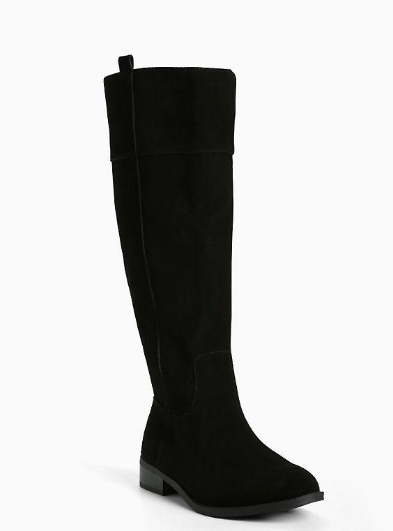 Genuine Suede Knee-High Boots (Wide Width & Wide Calf), BLACK ...