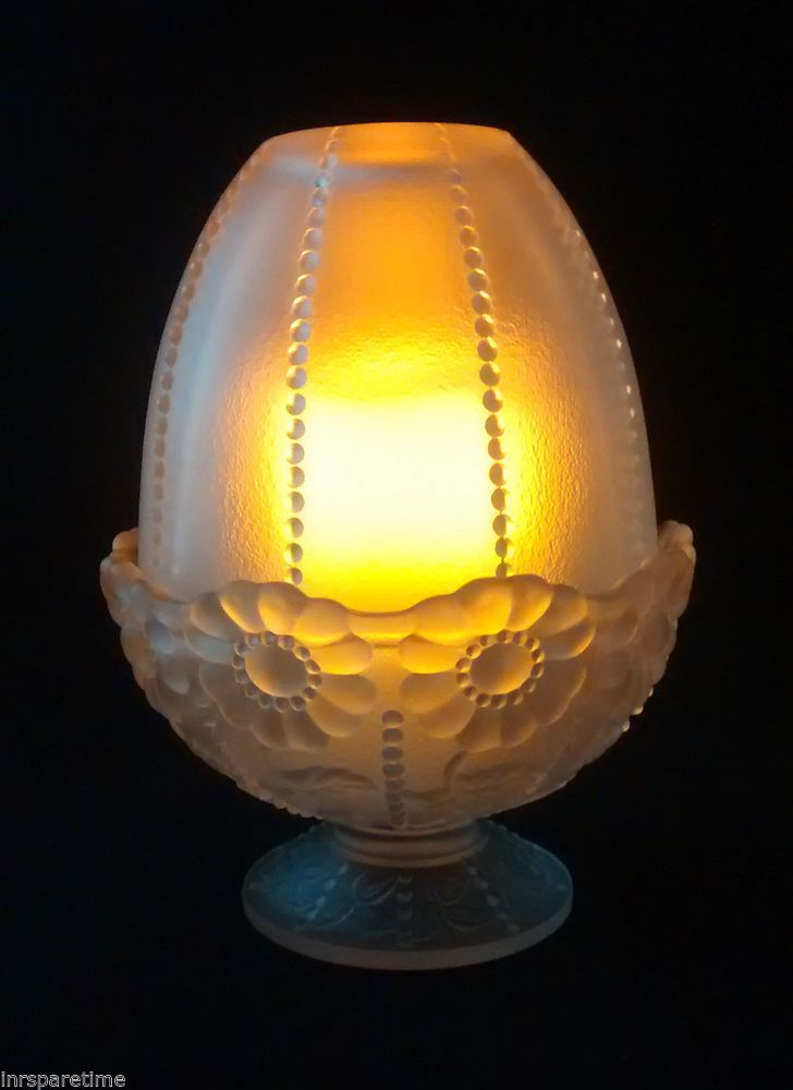 Vintage Fenton Beaded Satin Glass Daisy Fairy Light Lamp