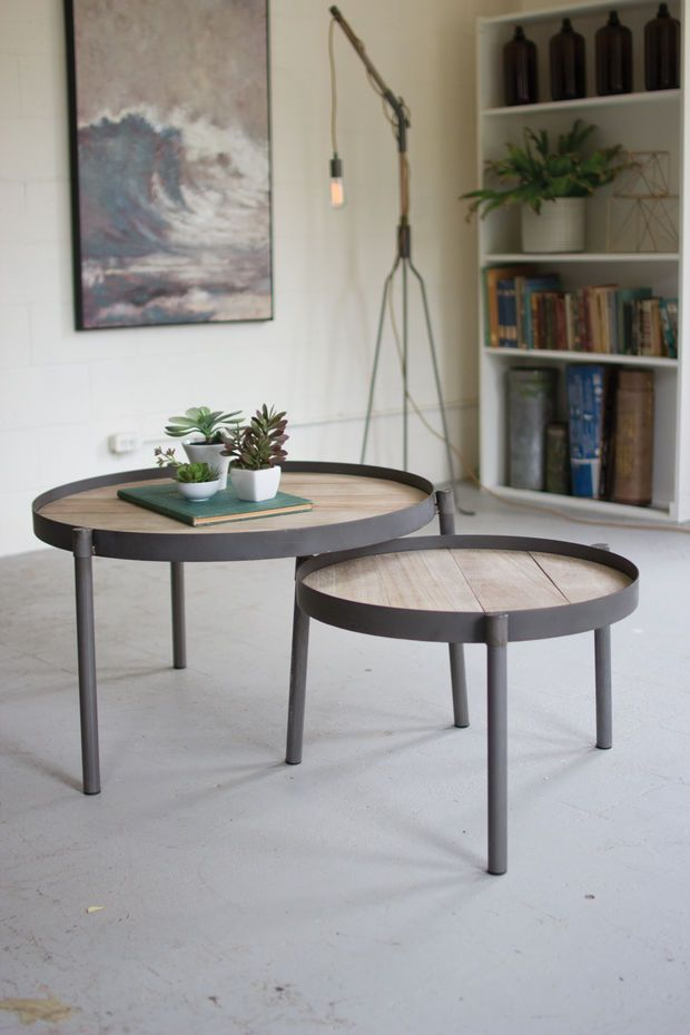 Set Of 2 Round Iron Nesting Coffee Tables With Wooden Tops
