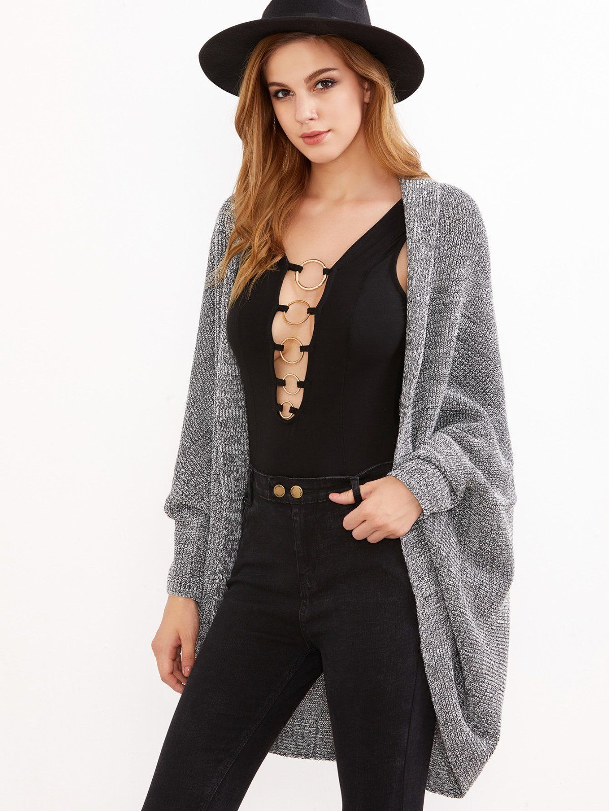 Grey Marled Shawl Collar Open Front Cocoon Cardigan   EVerYThiNG ...