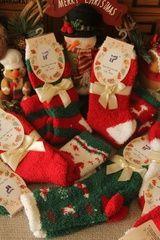 圣诞礼物 圣诞袜子礼品丝带装 地板袜 珊瑚绒 家居袜