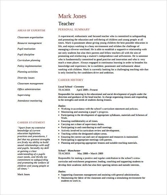 Printable Teacher CVTemplate of Pages PDF , How to Make a Good