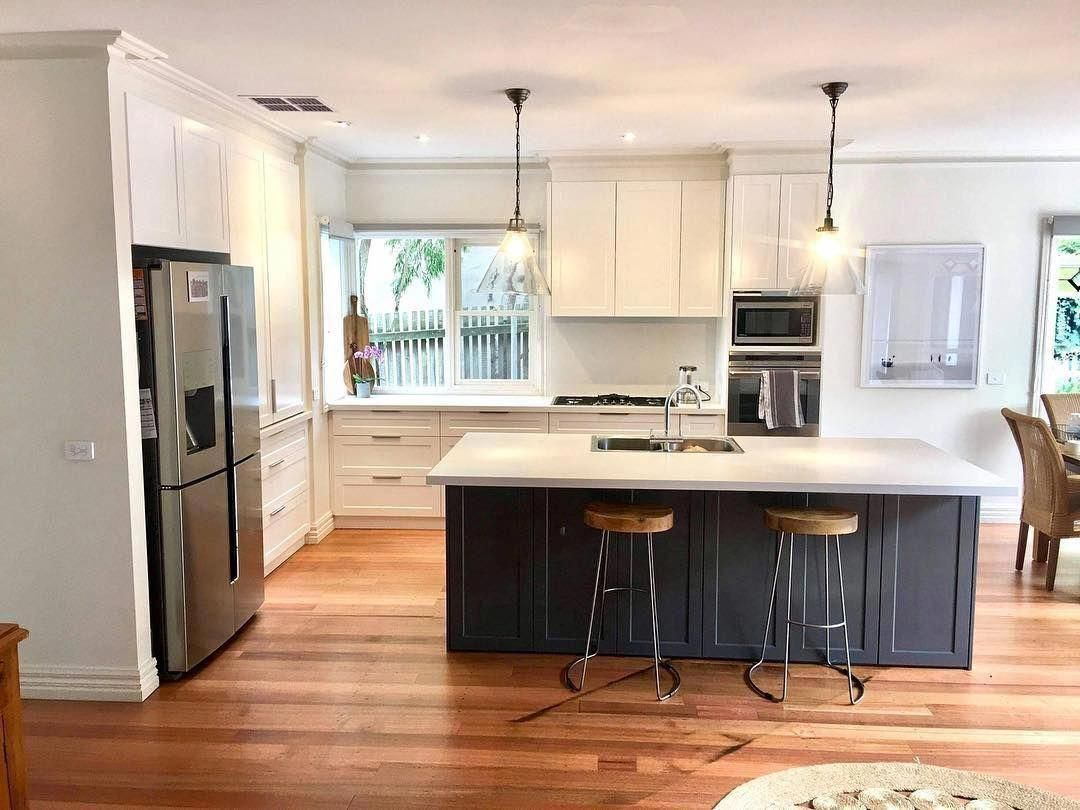 Unbeatable Two Tone Cabinets In A Galley Kitchen Blue On White Navy And Blue Green Hue In 2020 Painting Kitchen Cabinets Kitchen Cabinet Trends Kitchen Decor Modern