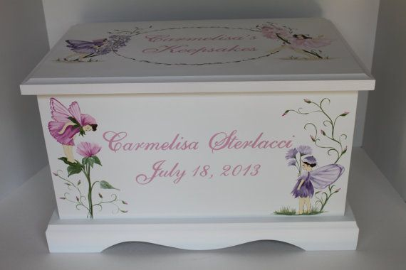 Fairies and wildflowers baby keepsake box chest personalized18 x baby keepsake box baby keepsake chest memory box for girl fairies and wildflowers hand painted personalized baby gift negle Images