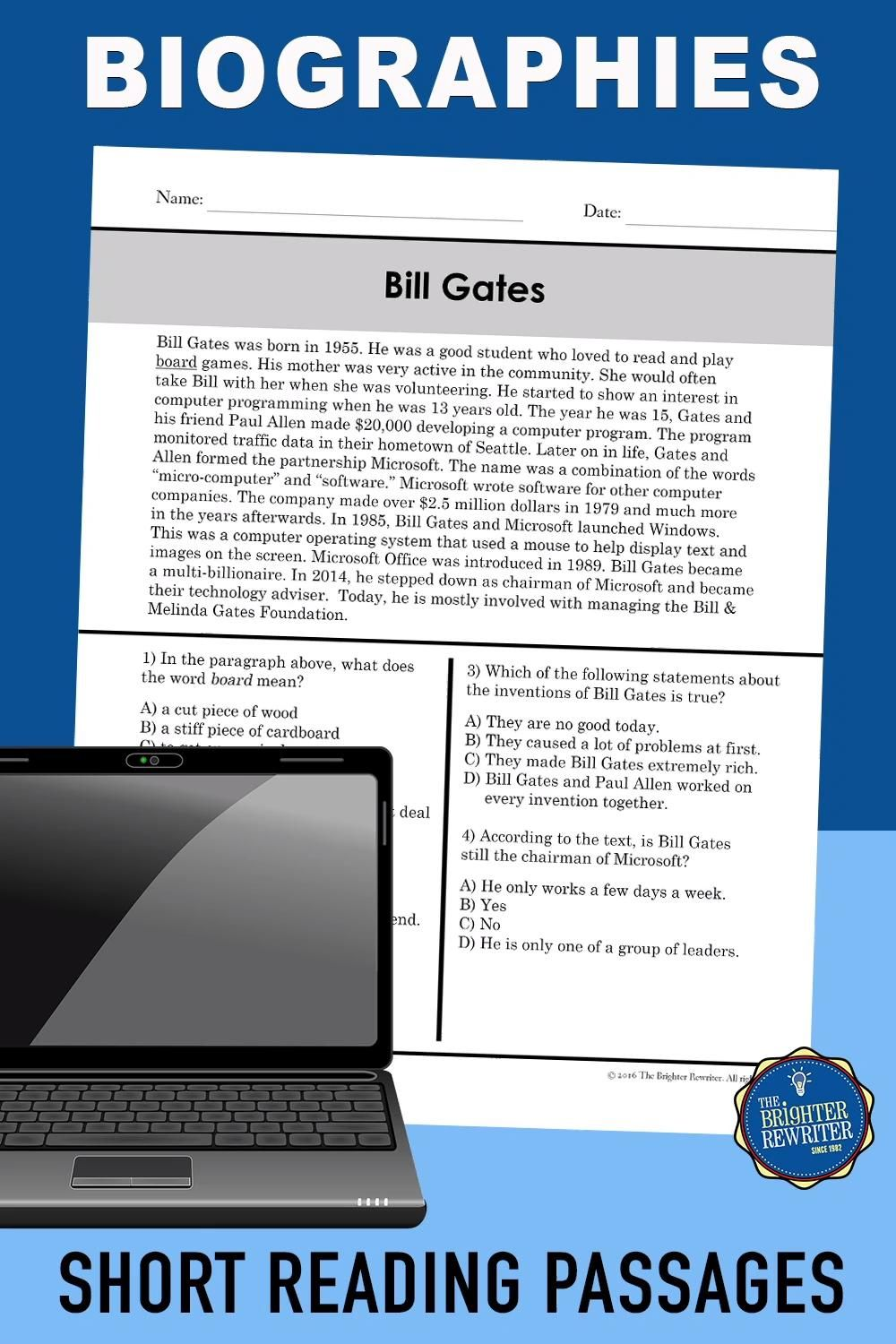 Biographies Reading Comprehension Video Reading Comprehension Passages Teaching Nonfiction Upper Elementary Science [ 1500 x 1000 Pixel ]