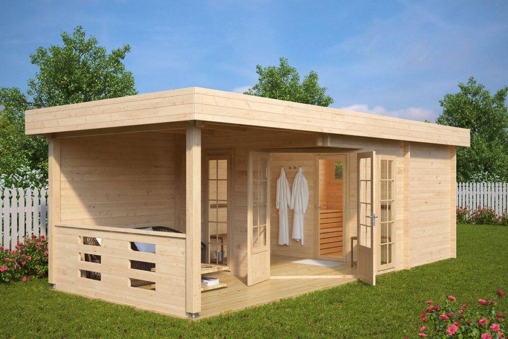 Gartensauna Modern Paula 12 5m 44mm 8x3 Hansagarten24 Gartenhaus Kaufen Gartenhaus Mit Terrasse Gartenhaus