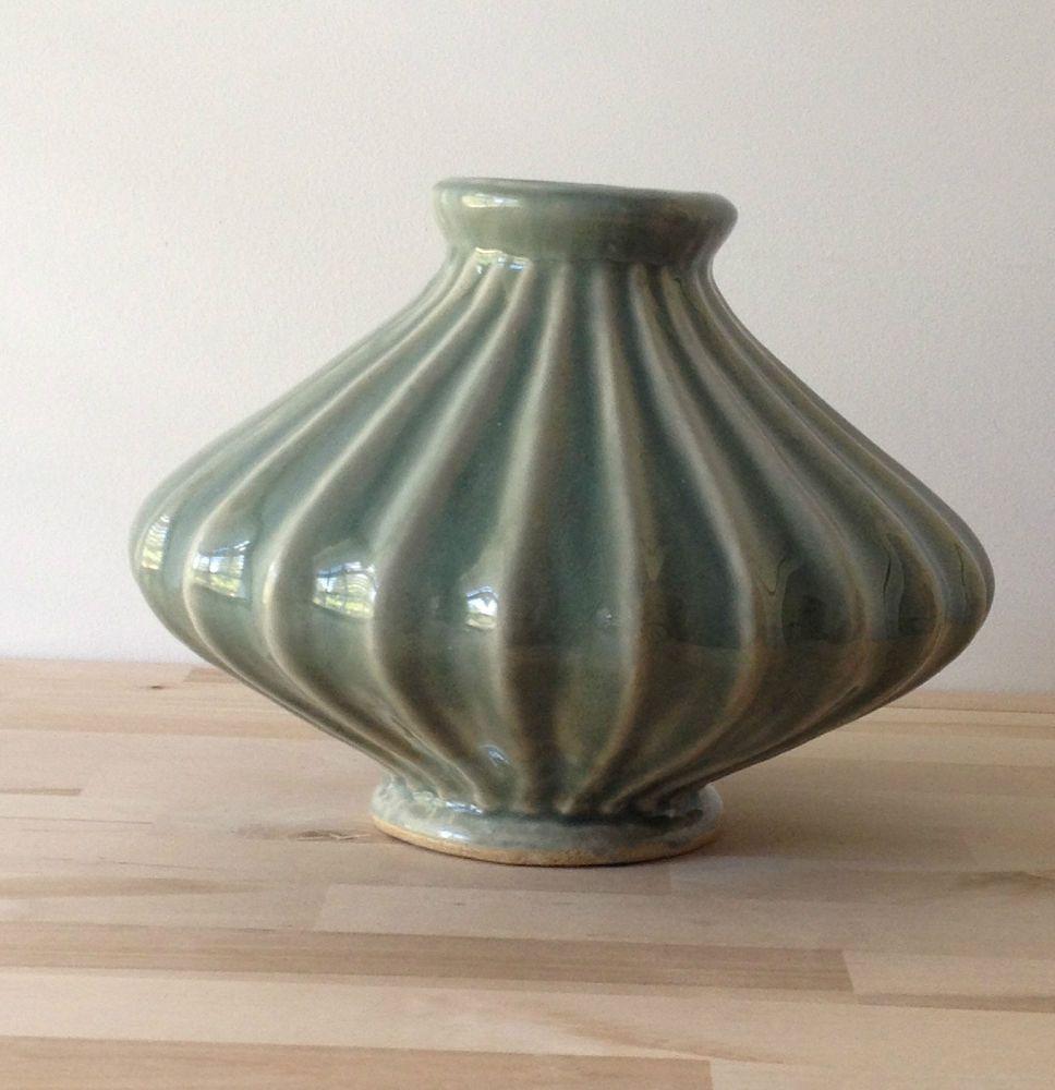 Green Shiny Glazed Ridged Odd Shaped Ceramic Flower Vase Vase Ceramic Flowers Weird Shapes