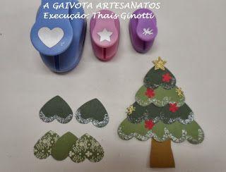 A Gaivota Artesanato: Árvore de Natal com Furador de coração Como Fazer Árvore de Natal com Furadores Lunne Import loja A Gaivota São Paulo Santa Catarina Scrapbook perfurador de papel