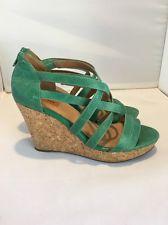 de983d9f63ba MIZ MOOZ  Kiara   Green Leather Cork Wedge Strappy Sandals Women s Sz 9.5