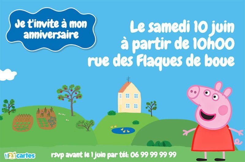 invitation anniversaire peppa pig