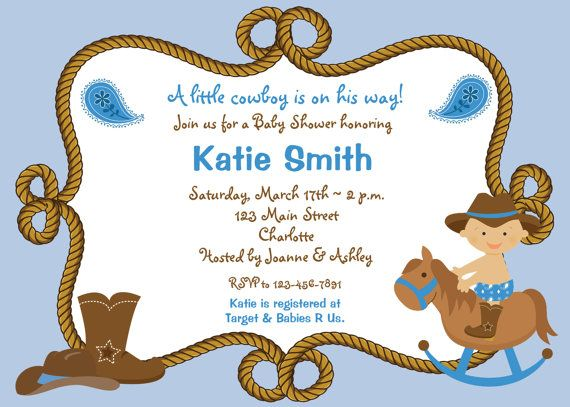 Baby Shower Invitation Baby Cowboy Boy Shower Invitation You