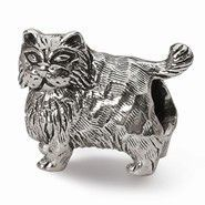 Sterling Silver Persian Cat Bead Charm