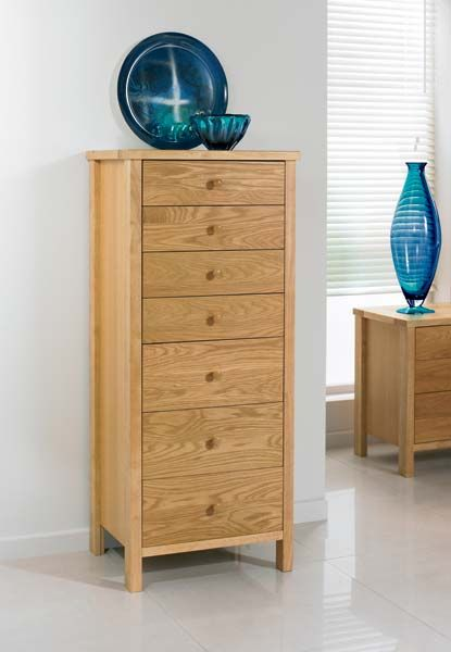 Atlantis Pale Oak 7 Drawer Tall Chest Chests Of Drawers Bentley Design Drawers Tall Chest