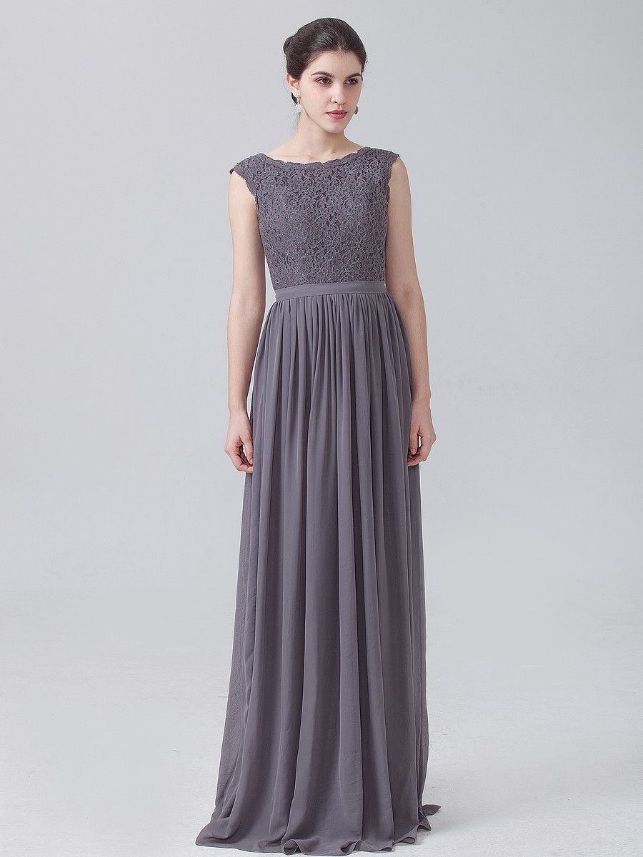 Lace Chiffon Dress with Cap Sleeves; Color: Charcoal Grey; Fabric ...