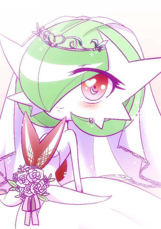 1girl alternate_form blush female flower gardevoir