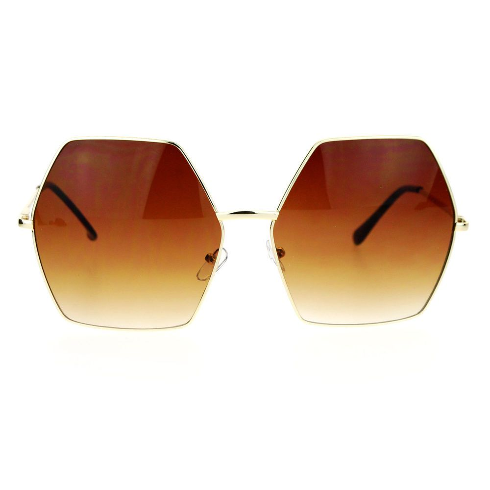 f9d94e263ece Womens Super Oversized Fashion Sunglasses Hexagon Shape Metal Frame in  Clothing
